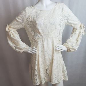 Free People Womens Bohemian Long Sleeve Lace Mini